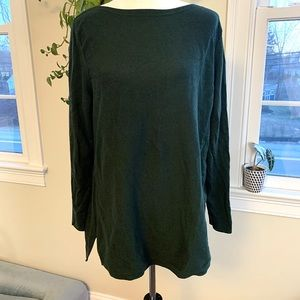 J. Jill green boatneck pullover tunic sweater XL